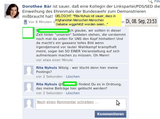 """MdB Bär löscht """"ungenehme"""" Meinungen"""